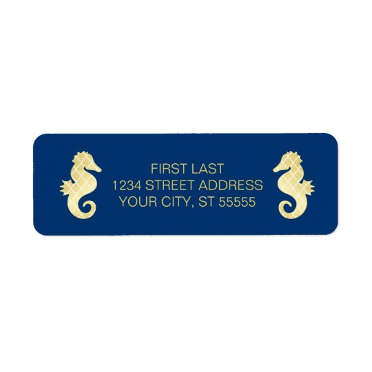 Preppy Beach Seahorse Navy Gold Wedding Return Address Label