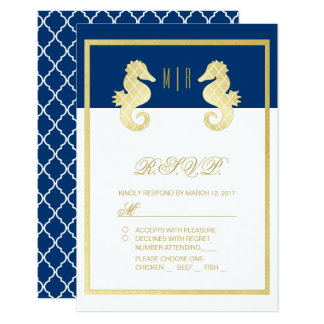 Preppy Beach Seahorse Navy Gold Wedding RSVP Card