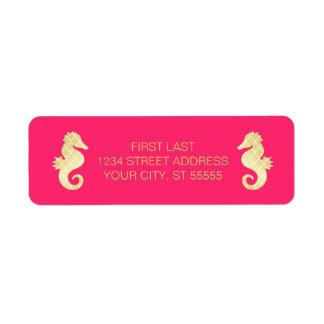 Preppy Beach Seahorse Pink Gold Wedding Return Address Label