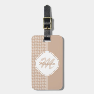Preppy Beige and Tan Houndstooth Monogram and Name Bag Tag