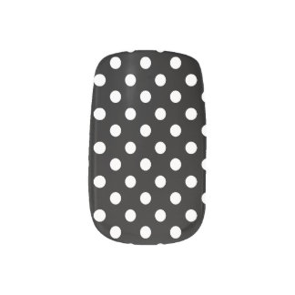 Preppy Black and White Polka Dots Minx Nail Art