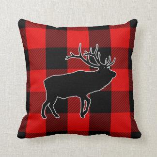 Preppy Black Red Buffalo Check | Rustic Elk Throw Pillow