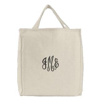Preppy Black Script Monogram Embroidered Bag