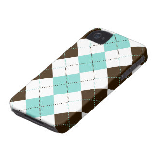 Preppy Blue and Brown Checker Patterns iPhone 4 Case