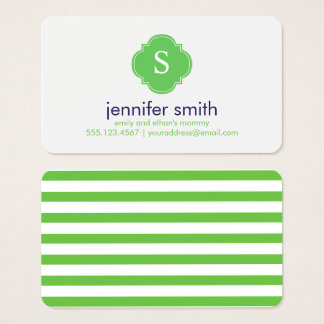 Preppy Blue and Green Monogrammed Business Card