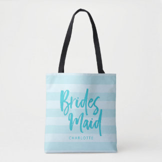 Preppy Blue Stripes Brush Script Bridesmaid Tote Bag