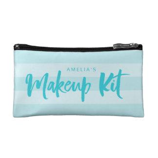 Preppy Blue Stripes Brush Script Makeup Bag