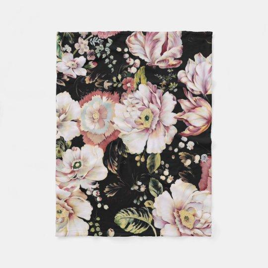 Preppy bohemian country shabby chic black floral fleece blanket