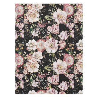 Preppy bohemian country shabby chic black floral tablecloth