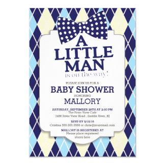 Preppy Bow Tie Argyle Little Man Boys Baby Shower Card