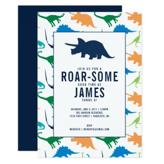 Preppy Boy Dinosaur Birthday Party Invitation