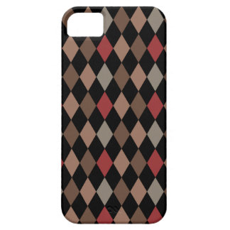 Preppy Brown Red and Black Argyle Pattern iPhone 5 Case