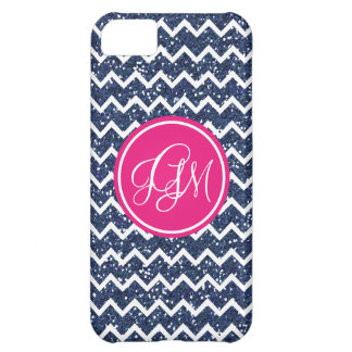 Preppy Chevron in Navy Glitter Cover For iPhone 5C