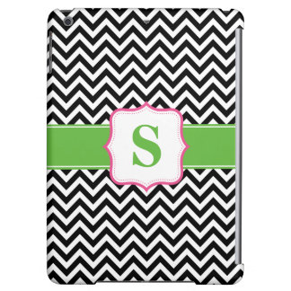 Preppy Chevron Pink Green Black Monogram Case For iPad Air