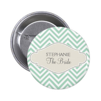 Preppy Chevron Stripe Modern Monogrammed Name 2 Inch Round Button