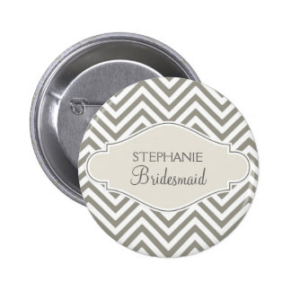 Preppy Chevron Stripe Modern Monogrammed Name Pins