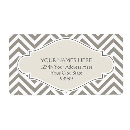 Preppy Chevron Stripe Modern Monogrammed Name Shipping Label