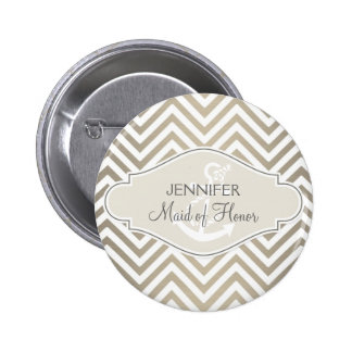 Preppy Chevron Stripe Modern Nautical Anchor 2 Inch Round Button