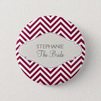 Preppy Chevron Stripe Modern Red White Bride Name 2 Inch Round Button