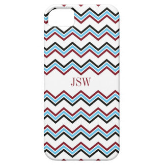 Preppy chevron zigzag blue red pattern monogram case for the iPhone 5