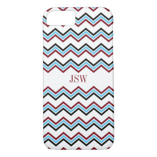 Preppy chevron zigzag blue red pattern monogram iPhone 7 case