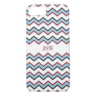 Preppy chevron zigzag blue red pattern monogram iPhone 8/7 case