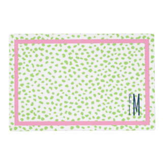 Preppy, chic animal pony print green pink placemat laminated place mat