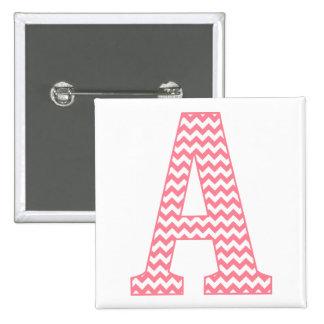 Preppy Classic Pink Chevron Letter A Monogram 2 Inch Square Button