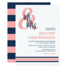 Preppy Coral & Navy Mr & Mrs Wedding Card