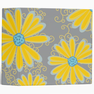 Preppy Daisy Flowers Swirly Retro Modern Pattern 3 Ring Binder