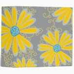 Preppy Daisy Flowers Swirly Retro Modern Pattern Binder