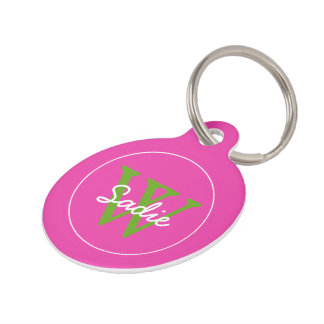 Preppy Diva Pink and Green Apple Monogram Pet Tag