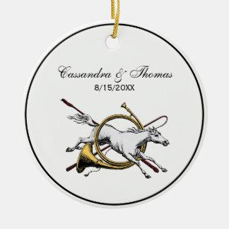 Preppy Equestrian Horse Jumping Through Horn Color Ceramic Ornament