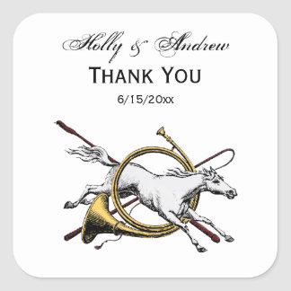 Preppy Equestrian Horse Jumping Through Horn Color Square Sticker