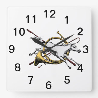 Preppy Equestrian Horse Jumping Through Horn Color Square Wall Clock