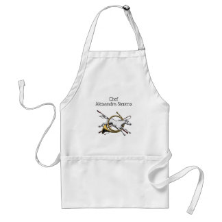 Preppy Equestrian Horse Jumping Through Horn Color Standard Apron