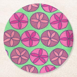Preppy Floral Print Round Paper Coaster