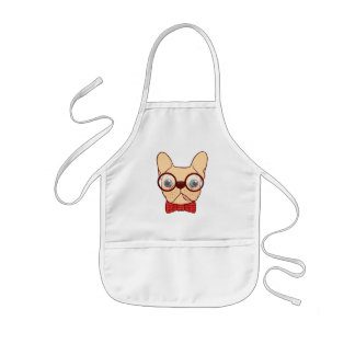 Preppy Frenchie is ready for school in new bow tie Kids Apron