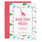 Preppy Girl Dinosaur Birthday Party Invitation