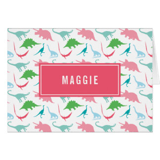 Preppy Girl Dinosaur Personalized Thank You Notes