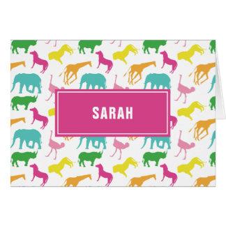 Preppy Girl Safari Animal Personalize Thank You Card