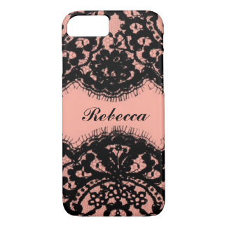 Preppy Girly Chic blush pink vintage black lace iPhone 8/7 Case