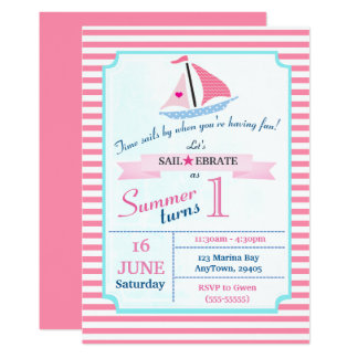 Preppy Girly Nautical Pink Sail Boat One Year Old Card