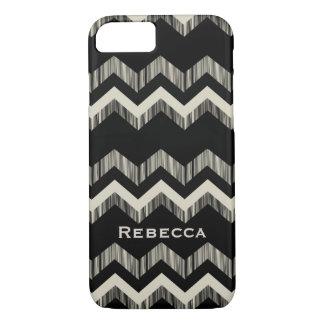 Preppy Girly Pattern Black And Grey Chevron iPhone 8/7 Case