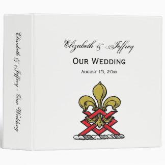 Preppy Gold Red Heraldic Crest Fleur de Lis Emblem 3 Ring Binder