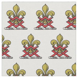 Preppy Gold Red Heraldic Crest Fleur de Lis Emblem Fabric