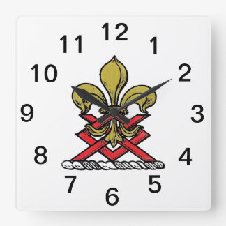 Preppy Gold Red Heraldic Crest Fleur de Lis Emblem Square Wall Clock