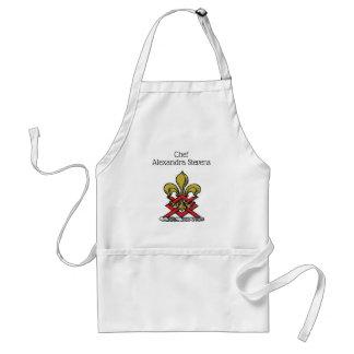 Preppy Gold Red Heraldic Crest Fleur de Lis Emblem Standard Apron
