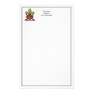 Preppy Gold Red Heraldic Crest Fleur de Lis Emblem Stationery