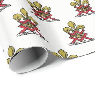 Preppy Gold Red Heraldic Crest Fleur de Lis Emblem Wrapping Paper